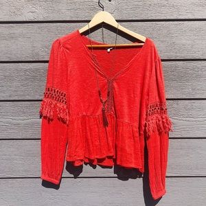 Lucky Brand Orange boho tassel fringe long sleeve